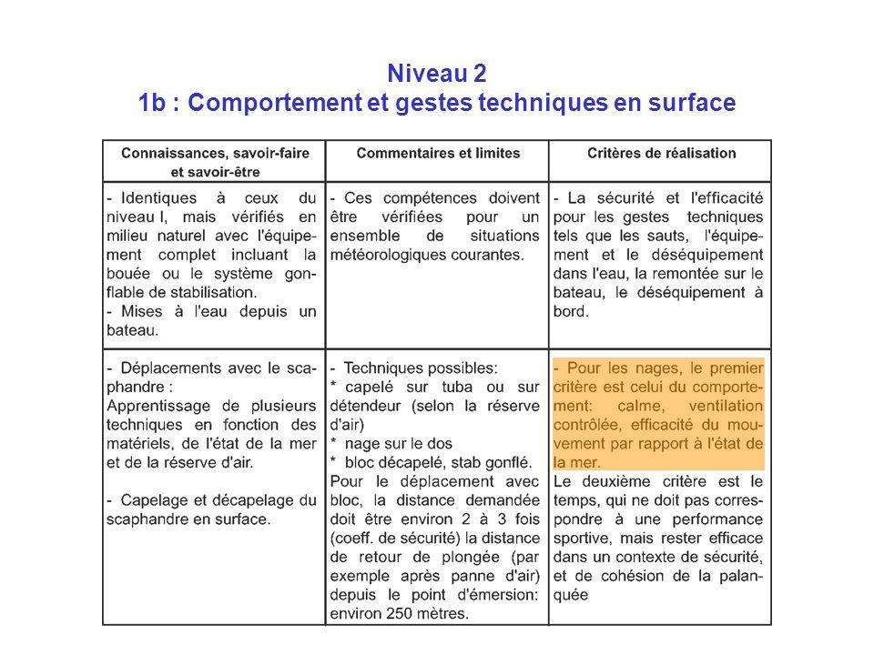 Niveau 2 1b : Comportement et gestes techniques en surface