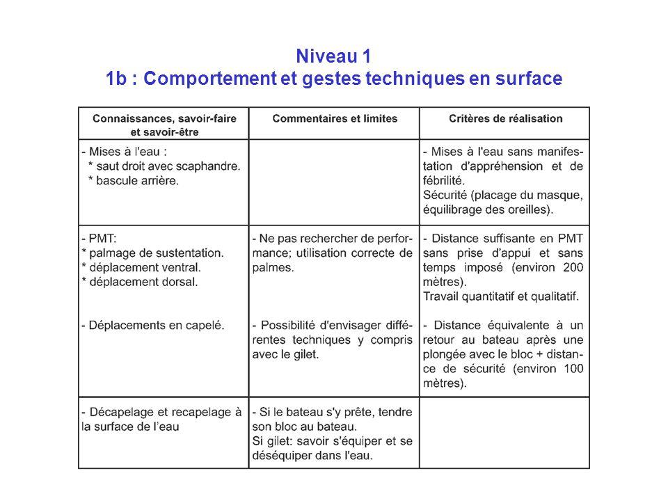 Niveau 1 1b : Comportement et gestes techniques en surface