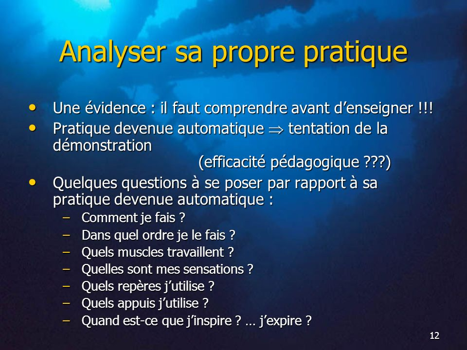 Analyser sa propre pratique