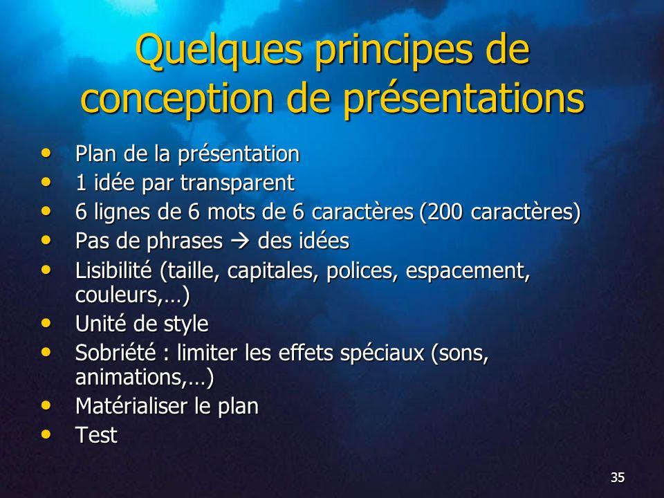 Quelques principes de conception de présentations
