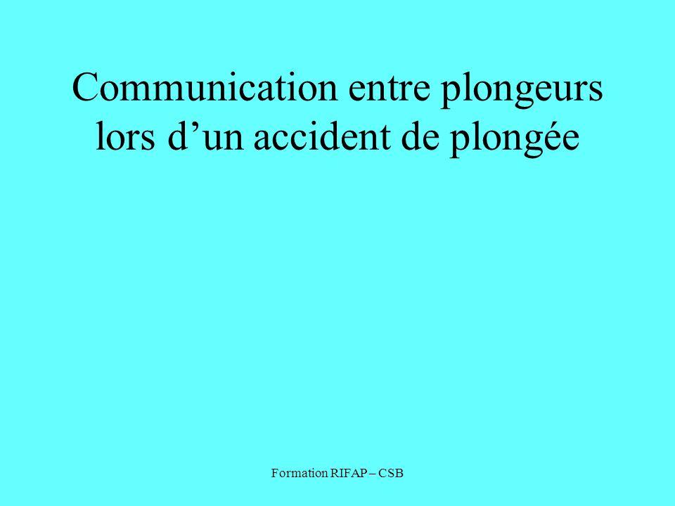 Communication entre plongeurs lors d'un accident de plongée