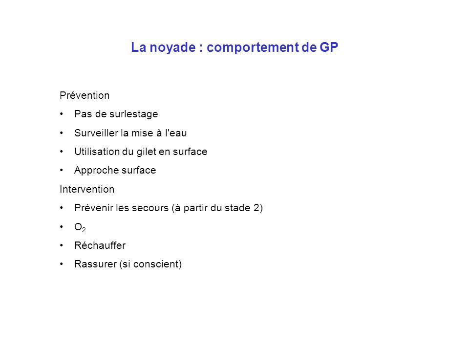 La noyade : comportement de GP