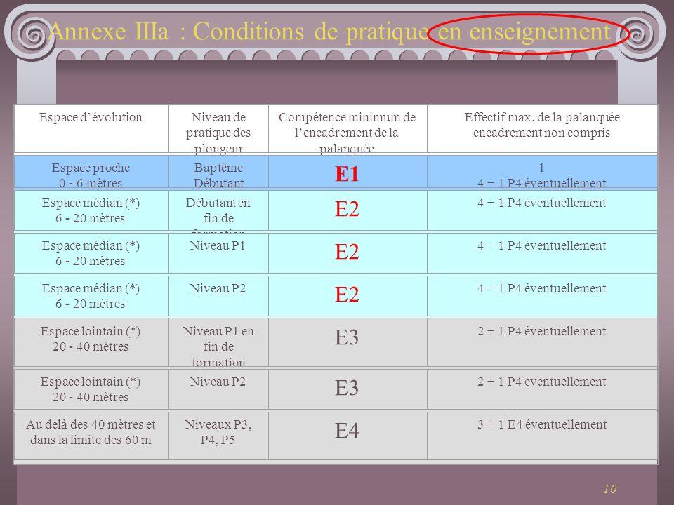 Annexe IIIa : Conditions de pratique en enseignement