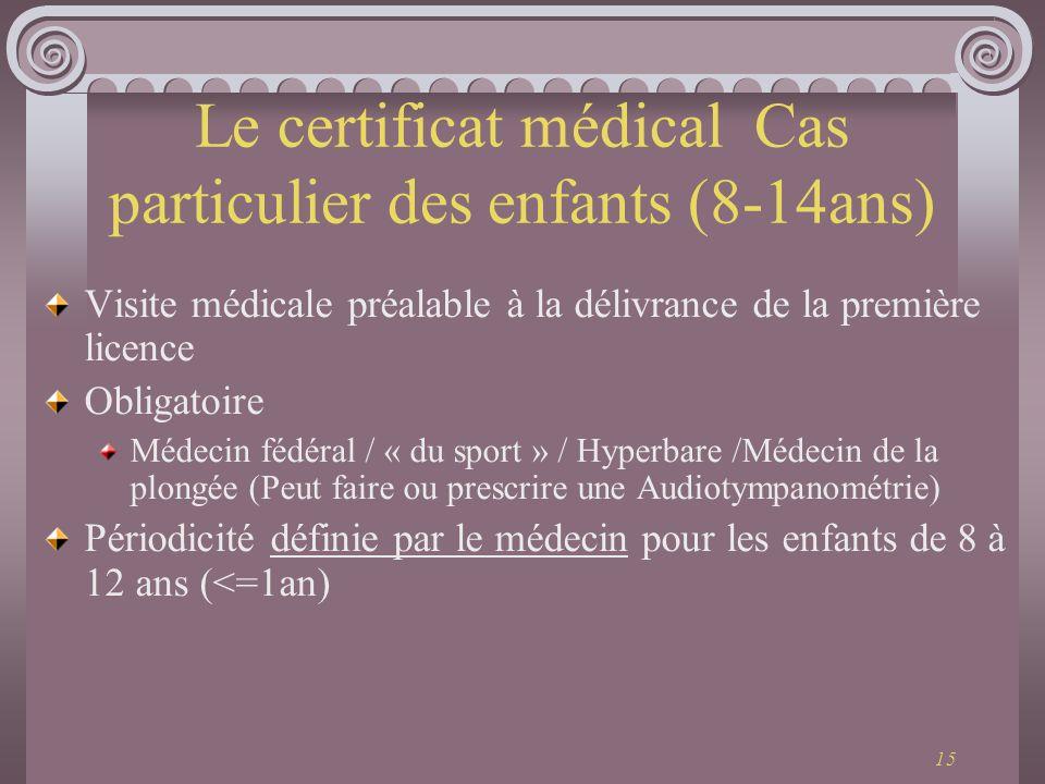 Le certificat médical Cas particulier des enfants (8-14ans)