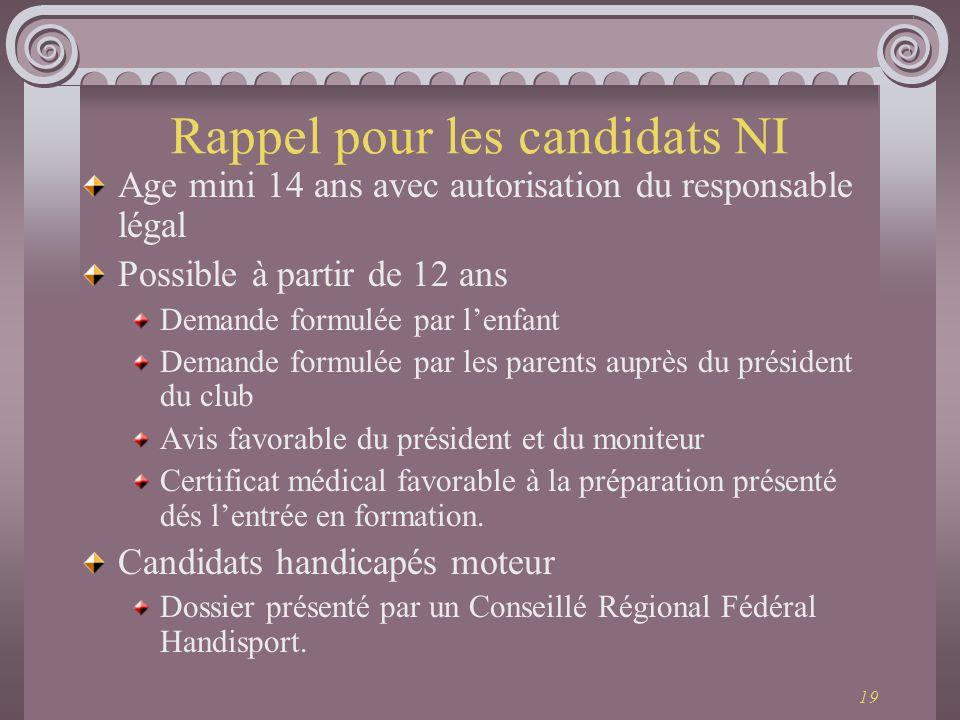 Rappel pour les candidats NI
