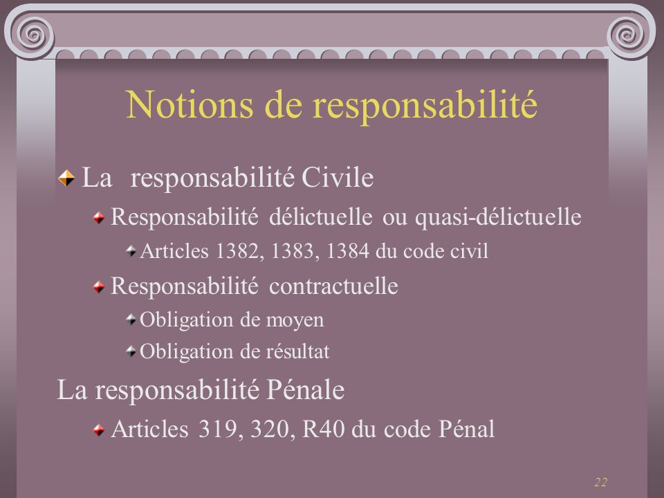 Notions de responsabilité
