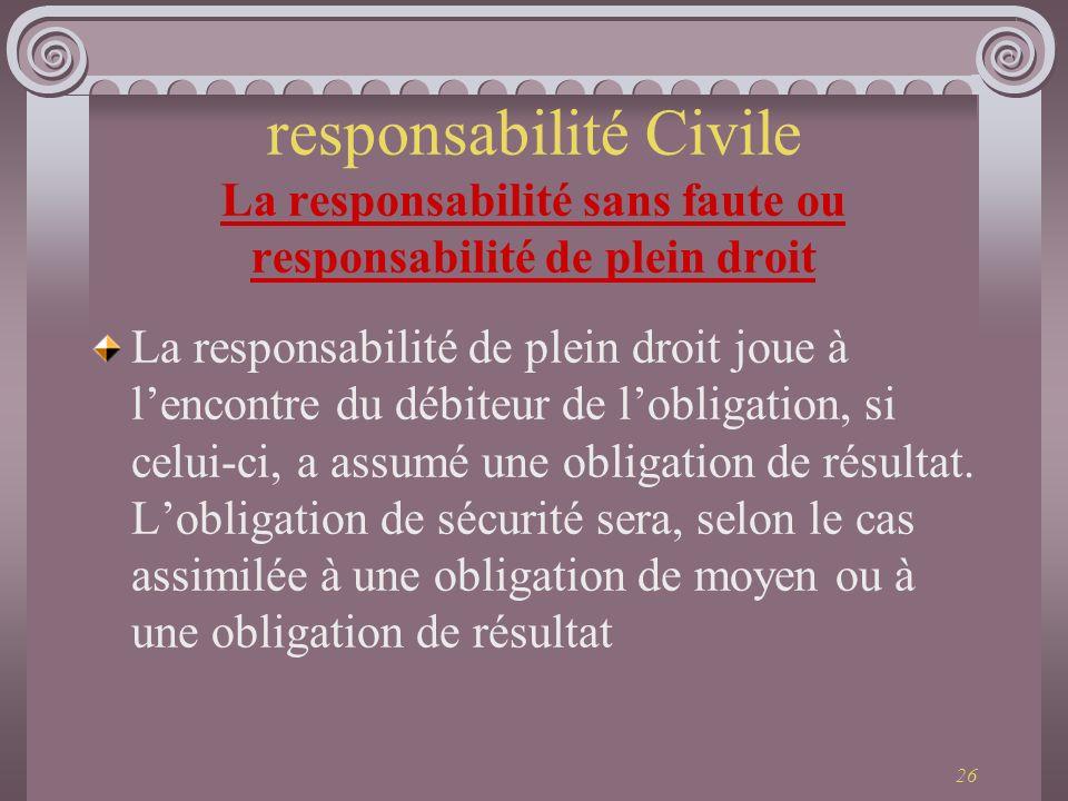 responsabilité Civile La responsabilité sans faute ou responsabilité de plein droit