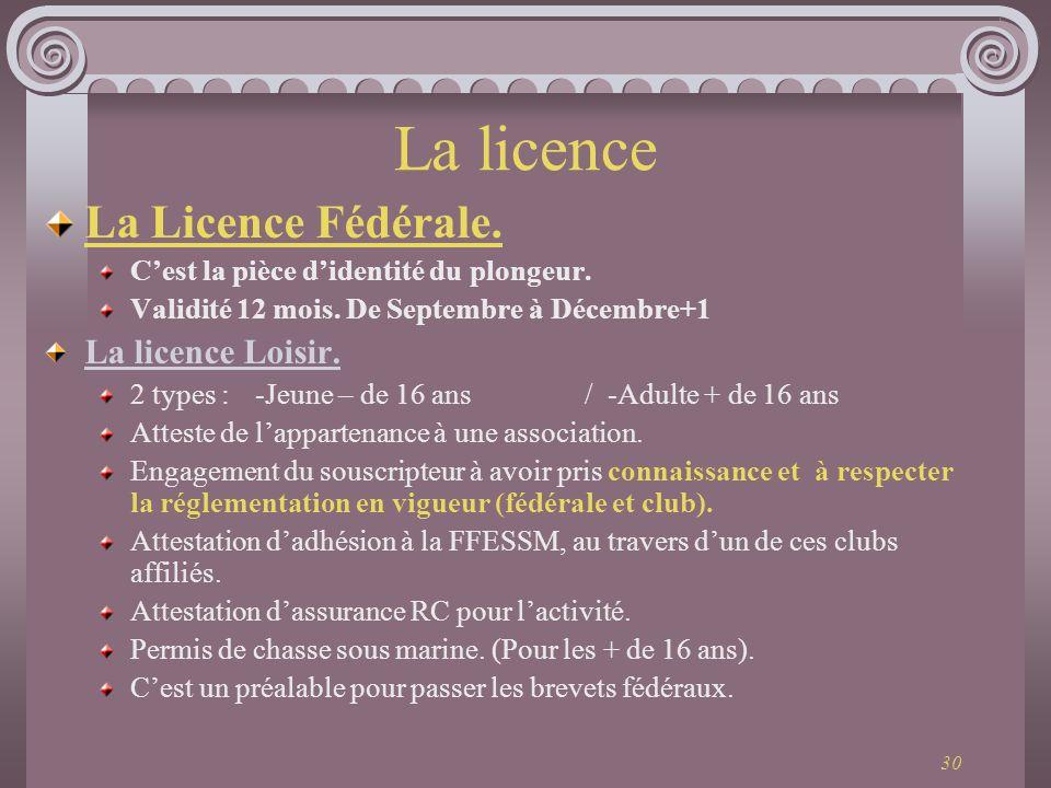 La licence La Licence Fédérale. La licence Loisir.