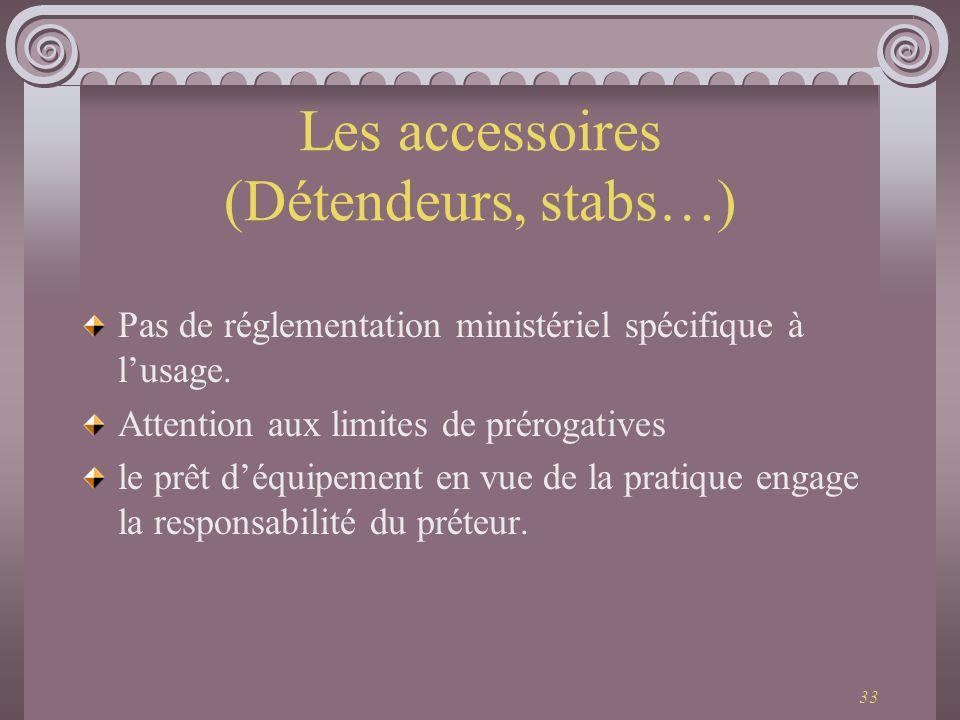 Les accessoires (Détendeurs, stabs…)