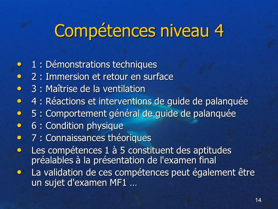 Compétences niveau 4 1 : Démonstrations techniques