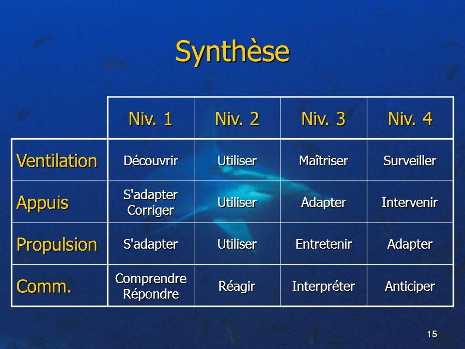 Synthèse Niv. 1 Niv. 2 Niv. 3 Niv. 4 Ventilation Appuis Propulsion