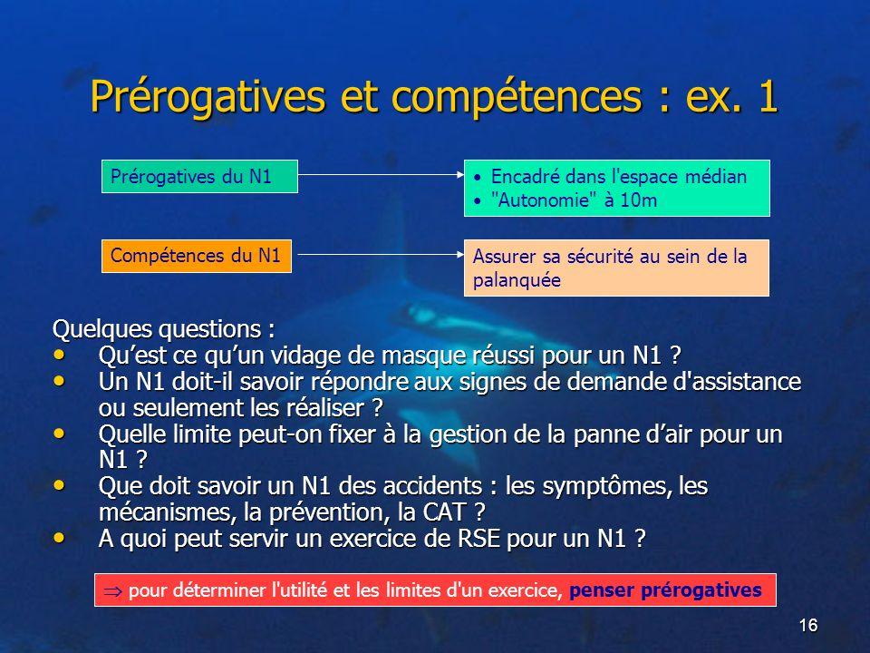 Prérogatives et compétences : ex. 1
