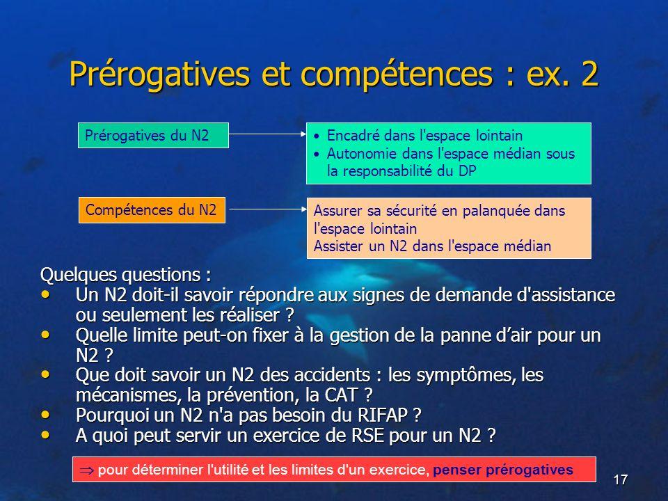 Prérogatives et compétences : ex. 2