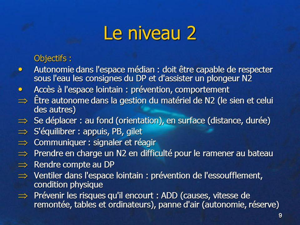 Le niveau 2 Objectifs : Autonomie dans l espace médian : doit être capable de respecter sous l eau les consignes du DP et d assister un plongeur N2.