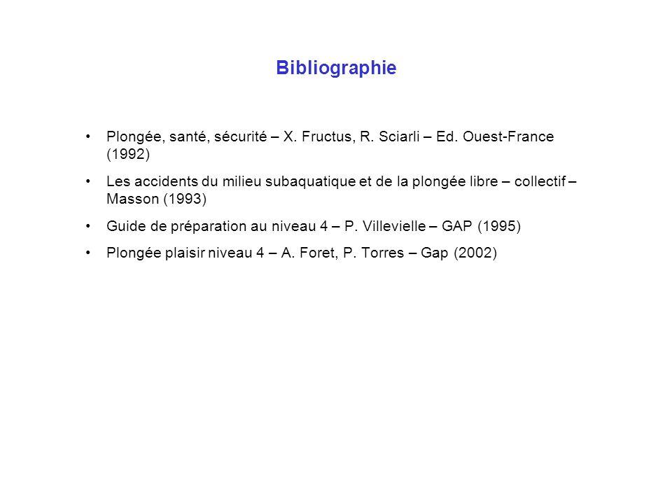 BibliographiePlongée, santé, sécurité – X. Fructus, R. Sciarli – Ed. Ouest-France (1992)