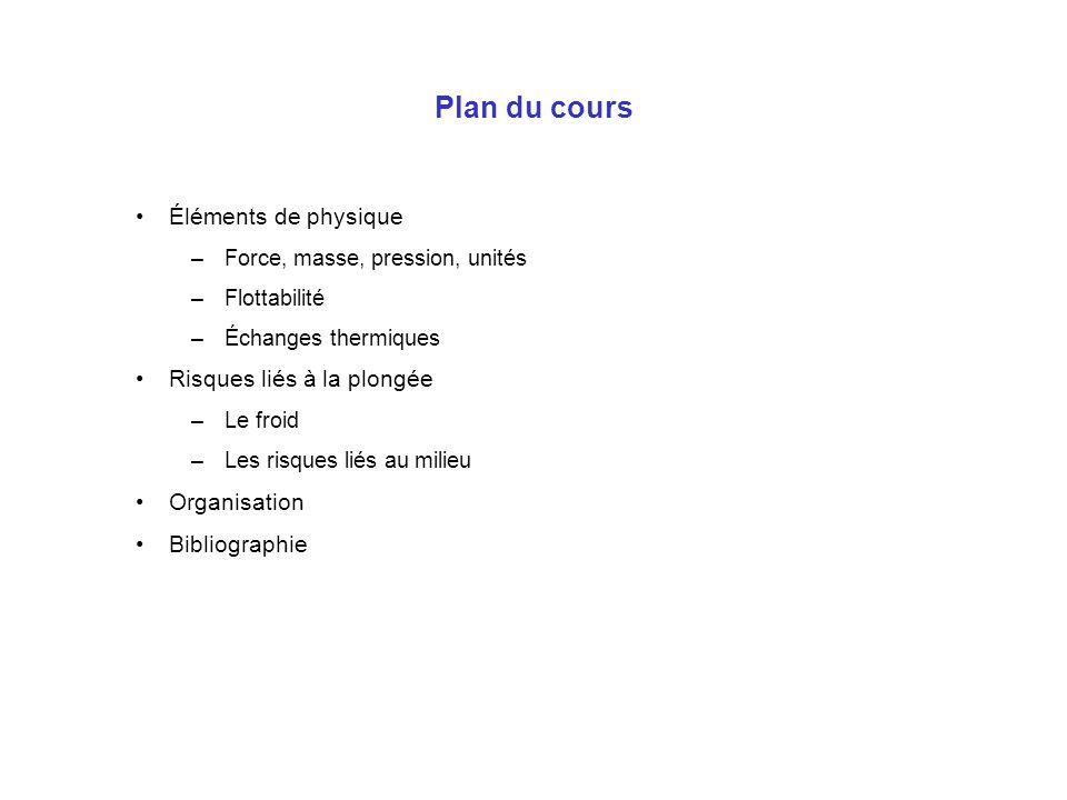 Plan du cours Éléments de physique Risques liés à la plongée