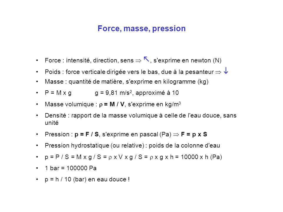 Force, masse, pression Force : intensité, direction, sens  , s exprime en newton (N)