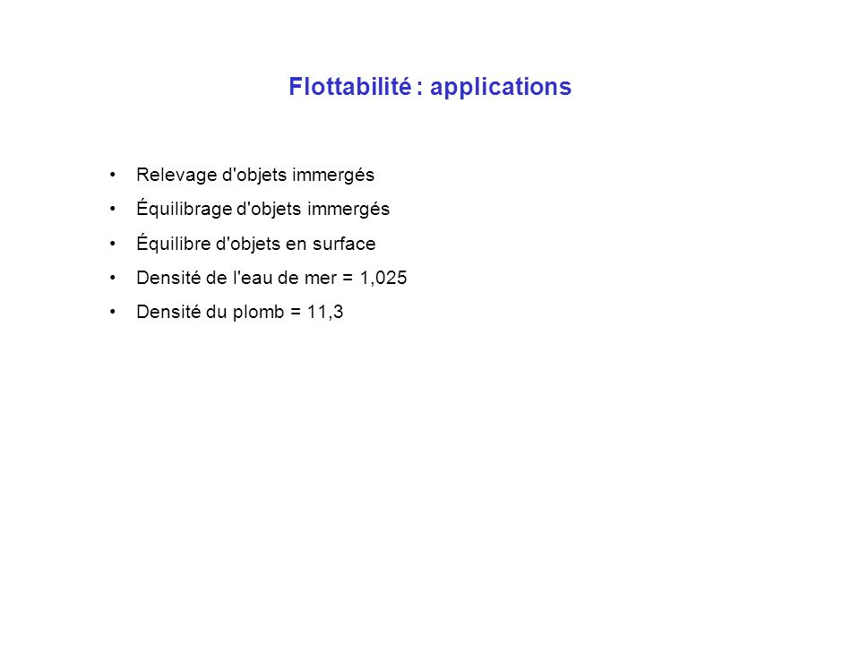 Flottabilité : applications