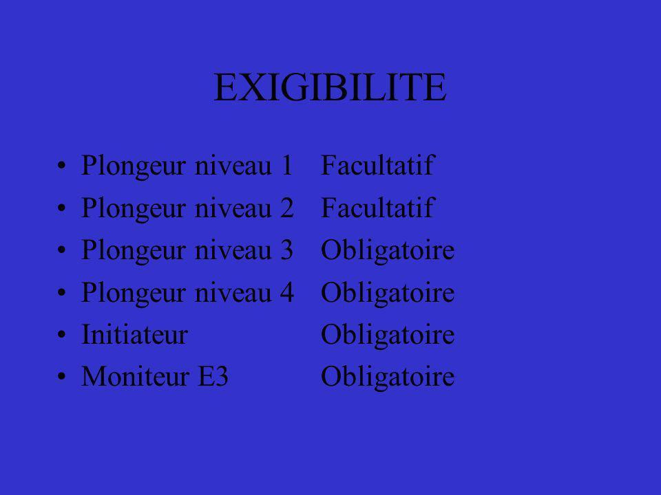 EXIGIBILITE Plongeur niveau 1 Facultatif Plongeur niveau 2 Facultatif