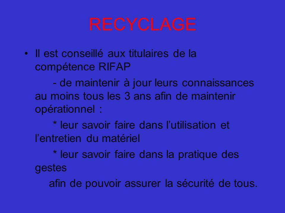 RECYCLAGE Il est conseillé aux titulaires de la compétence RIFAP