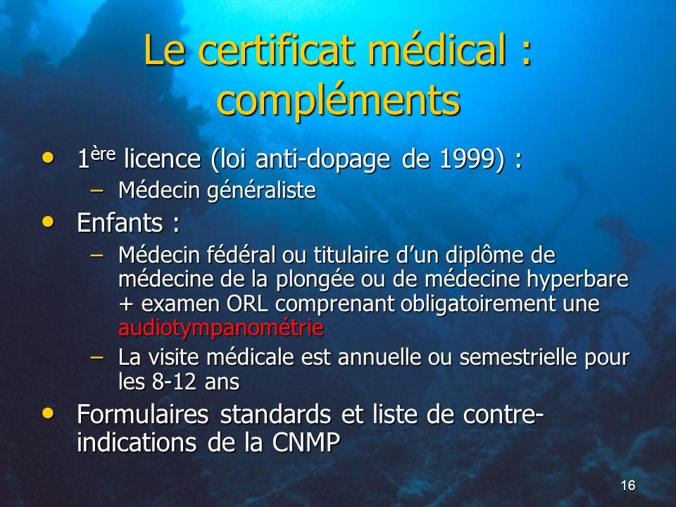 Le certificat médical : compléments