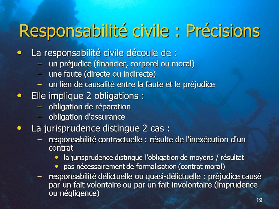 Responsabilité civile : Précisions