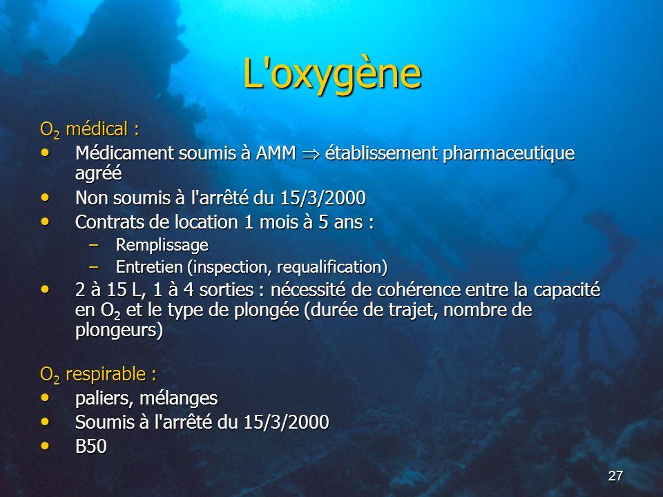 L oxygèneO2 médical : Médicament soumis à AMM  établissement pharmaceutique agréé. Non soumis à l arrêté du 15/3/2000.