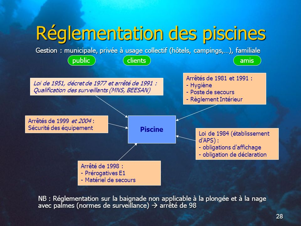 Cadre r glementaire de l initiateur de club ppt t l charger for Piscine demontable reglementation