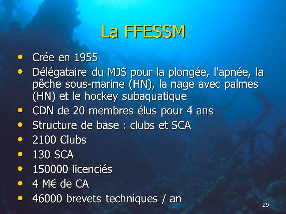 La FFESSMCrée en 1955. Délégataire du MJS pour la plongée, l apnée, la pêche sous-marine (HN), la nage avec palmes (HN) et le hockey subaquatique.