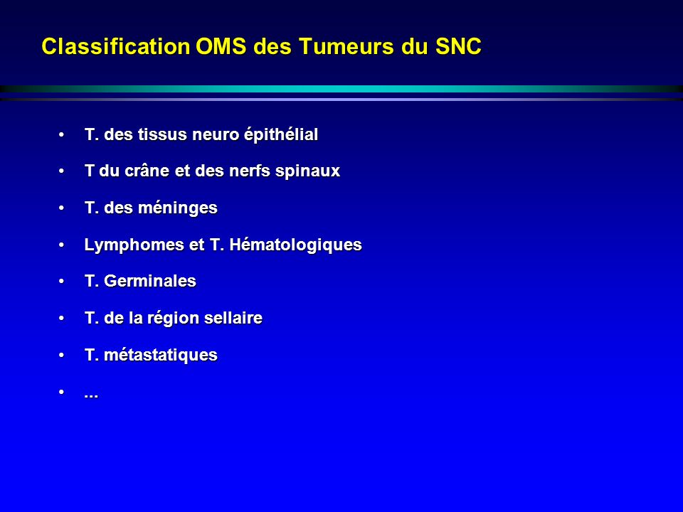 Classification OMS des Tumeurs du SNC