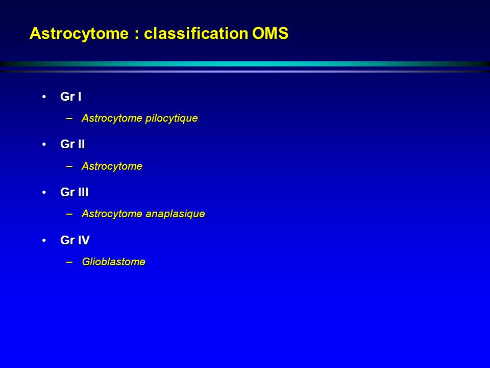 Astrocytome : classification OMS