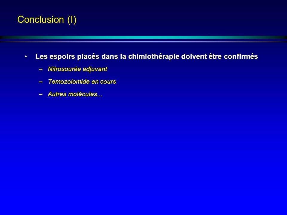 Conclusion (I) Les espoirs placés dans la chimiothérapie doivent être confirmés. Nitrosourée adjuvant.