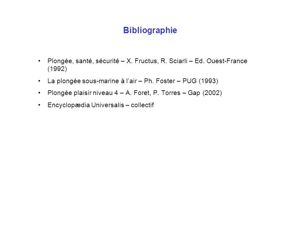 BibliographiePlongée, santé, sécurité – X. Fructus, R. Sciarli – Ed. Ouest-France (1992) La plongée sous-marine à l'air – Ph. Foster – PUG (1993)