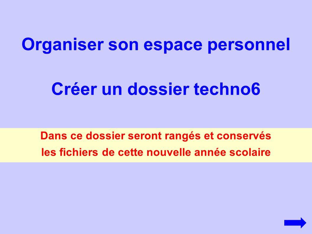 Organiser son espace personnel Créer un dossier techno6