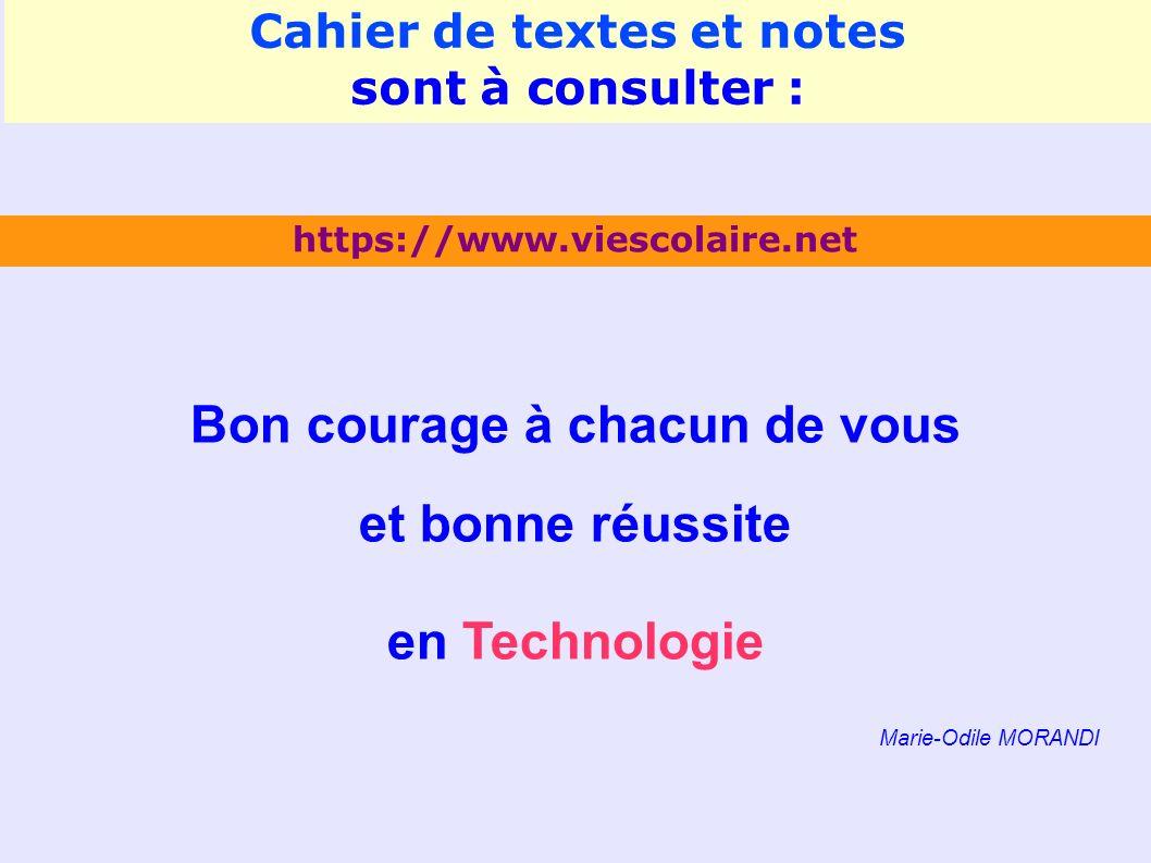 Cahier de textes et notes Bon courage à chacun de vous