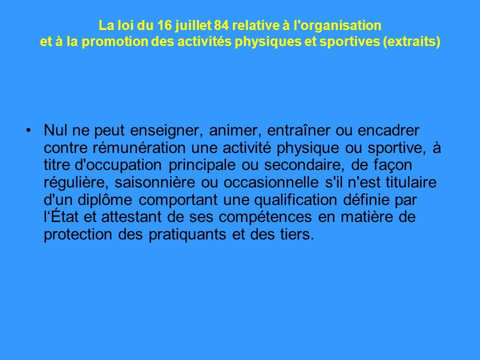 La loi du 16 juillet 84 relative à l organisation et à la promotion des activités physiques et sportives (extraits)