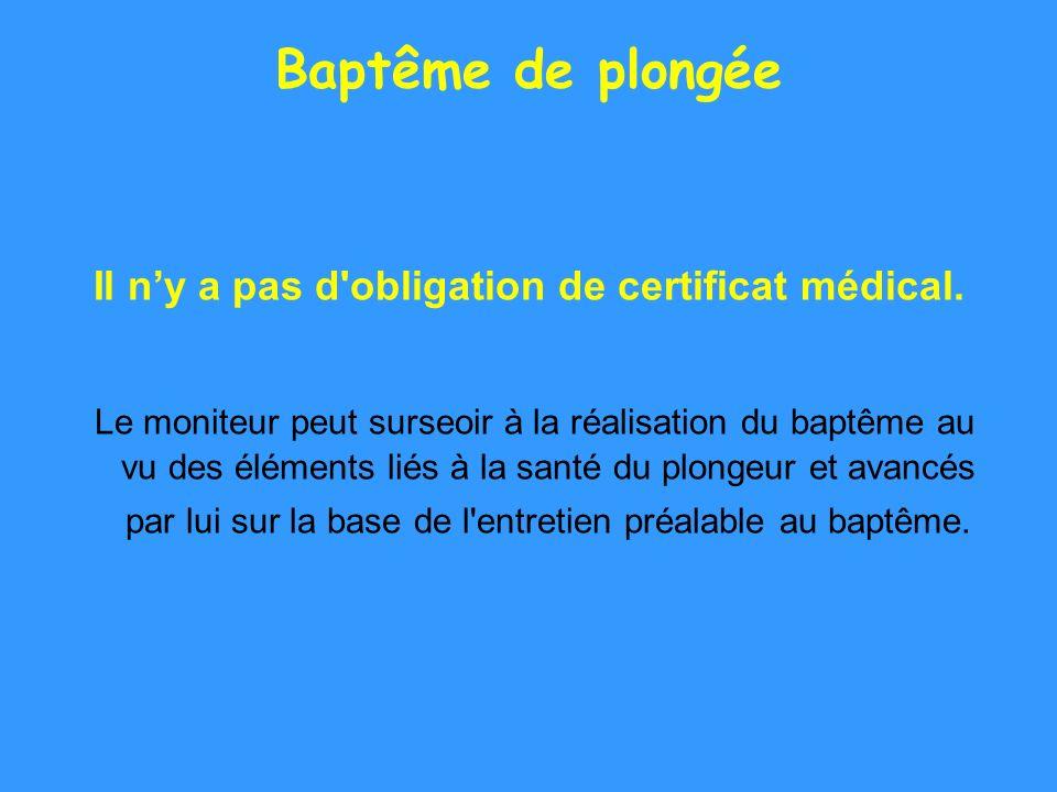 Il n'y a pas d obligation de certificat médical.