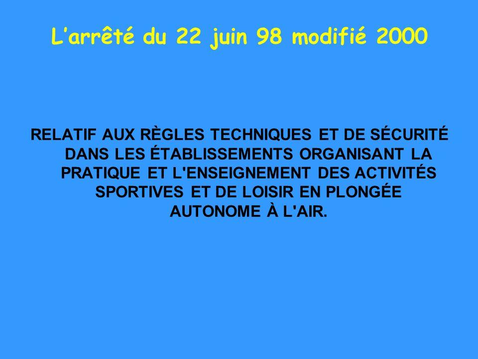 L'arrêté du 22 juin 98 modifié 2000