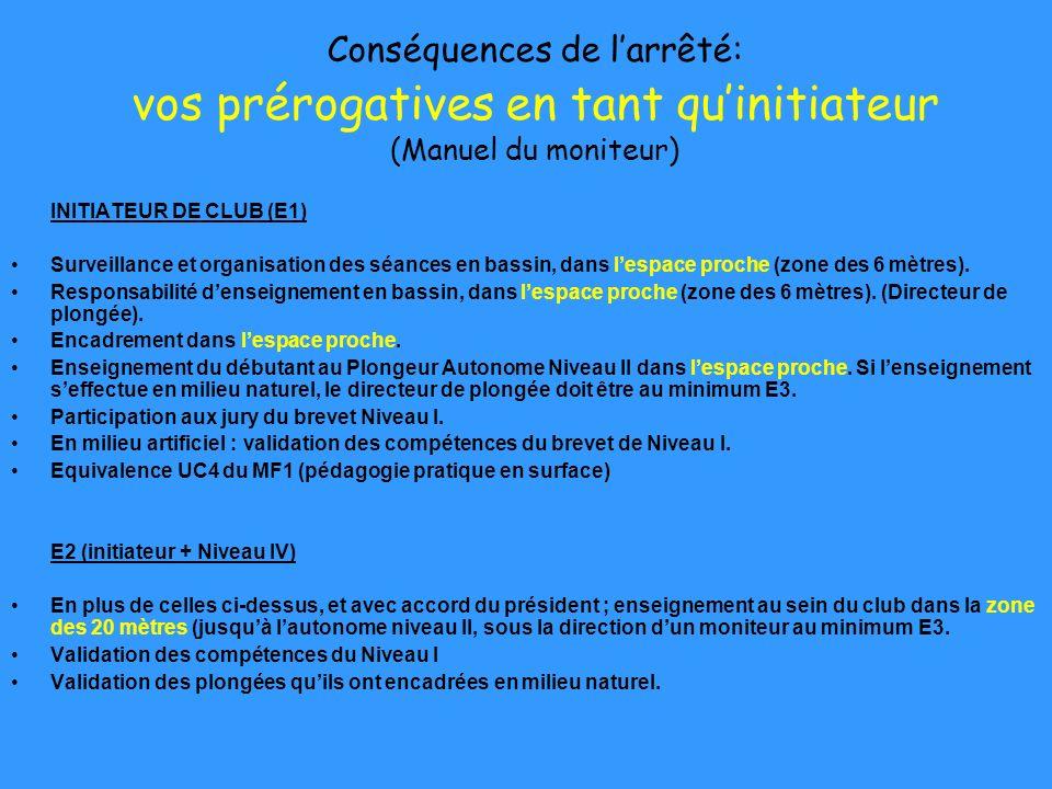 Conséquences de l'arrêté: vos prérogatives en tant qu'initiateur (Manuel du moniteur)