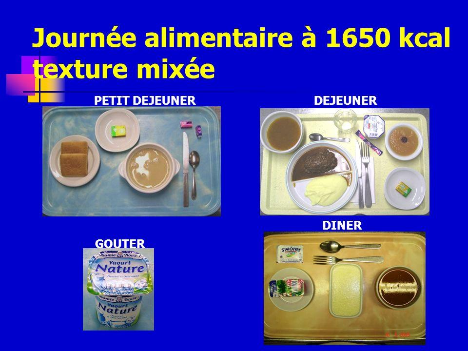 Journée alimentaire à 1650 kcal texture mixée