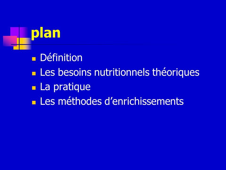 plan Définition Les besoins nutritionnels théoriques La pratique