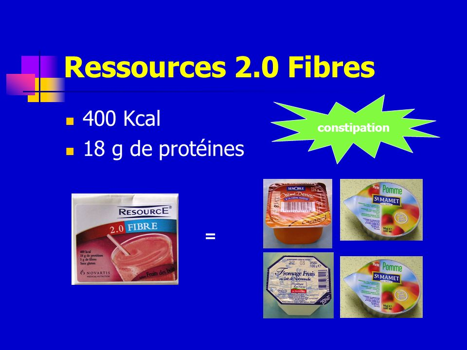 Ressources 2.0 Fibres constipation 400 Kcal 18 g de protéines =