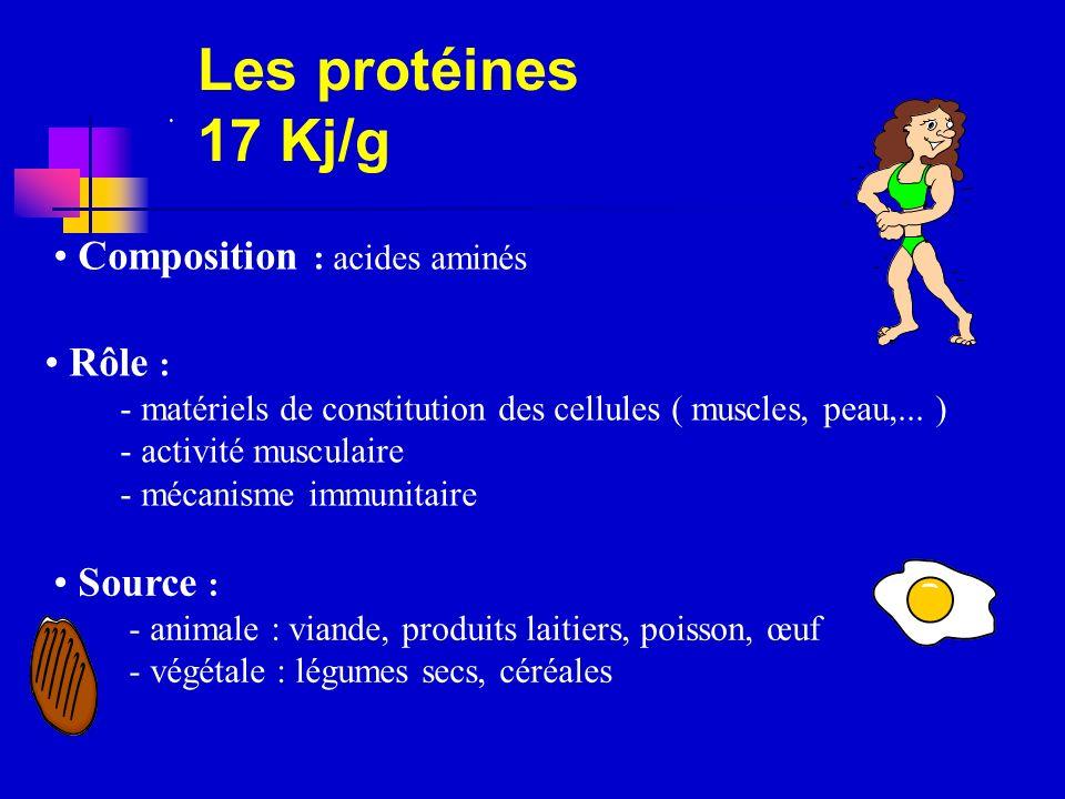 Les protéines 17 Kj/g Composition : acides aminés Rôle : Source :