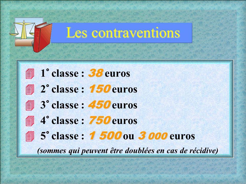 Les contraventions  1° classe : 38 euros  2° classe : 150 euros