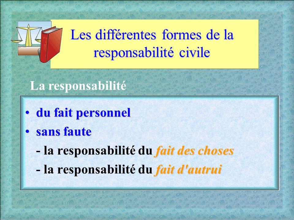 Les différentes formes de la responsabilité civile