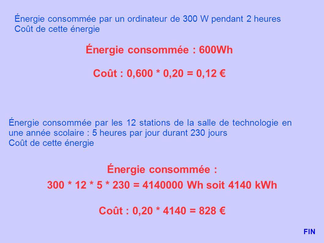 Énergie consommée : 600Wh Coût : 0,600 * 0,20 = 0,12 €
