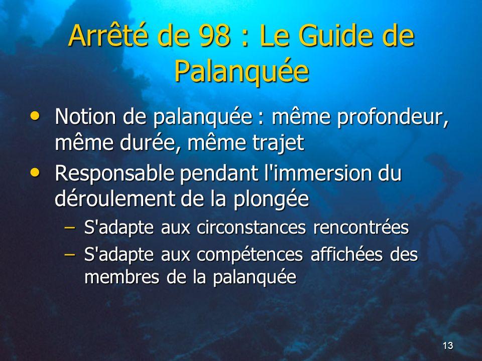 Arrêté de 98 : Le Guide de Palanquée