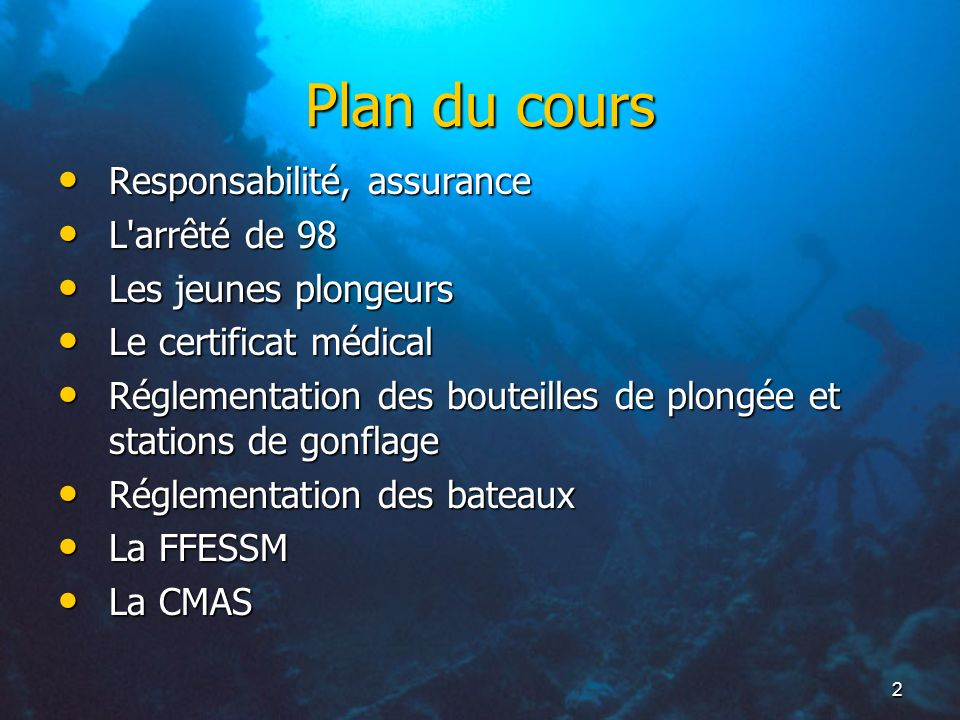 Plan du cours Responsabilité, assurance L arrêté de 98