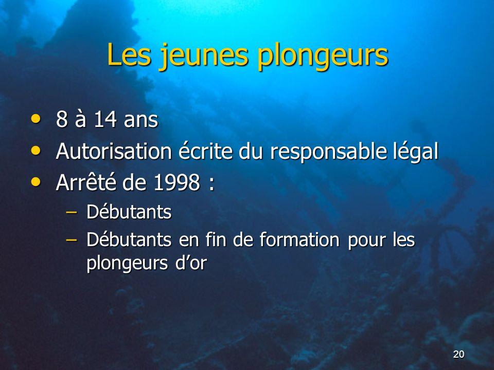 Les jeunes plongeurs 8 à 14 ans