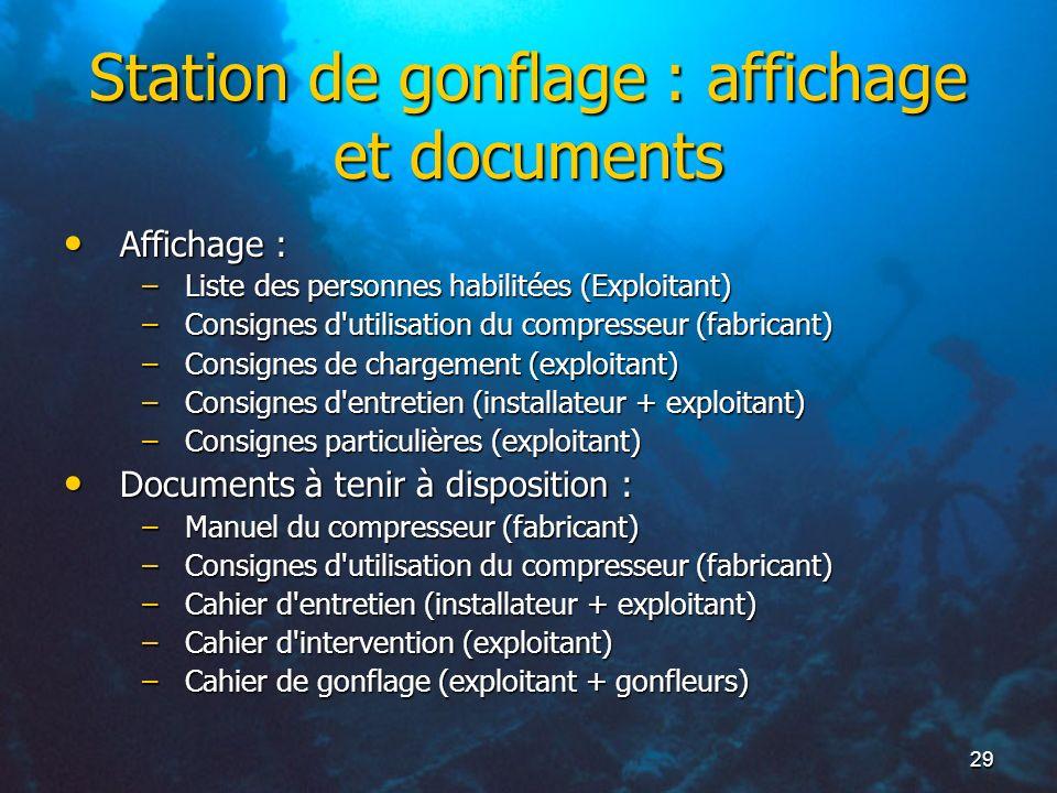 Station de gonflage : affichage et documents